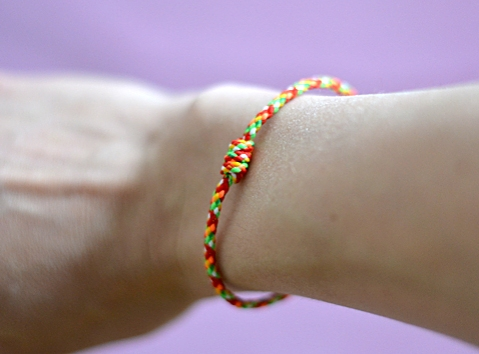Bracelet gifted by the Buddhist temple
