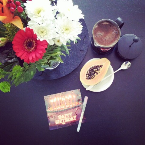 Coffee, papaya, and a card for my grandmother's birthday