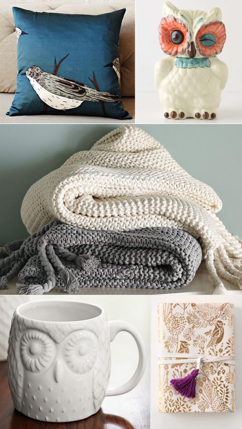 Fall inspiration: owl mug and caniser, bird pillow, chunky throw, leather journal