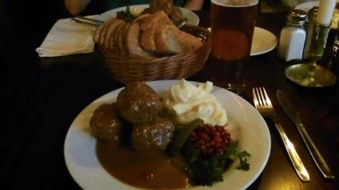 Swedish meatballs, mash potatoes, lingonberries, and gravy.